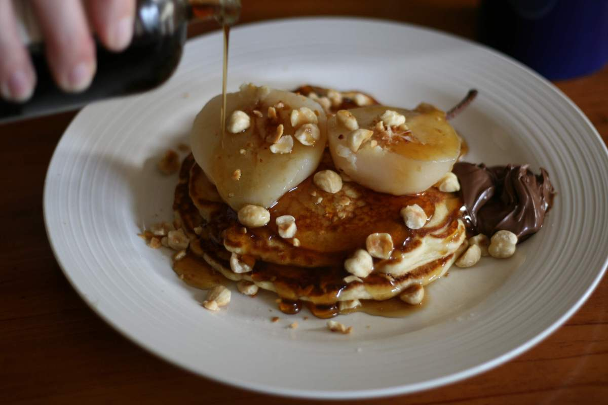 Pancakes with Poached Pear, Hazelnuts, Chocolate Spread and Bourbon ...